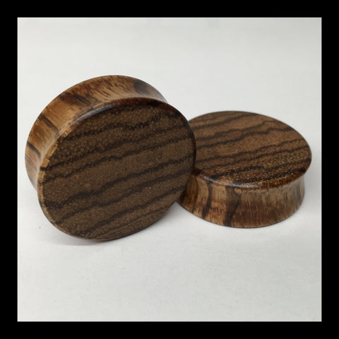 Zebrawood Solid Organic Wood Plugs