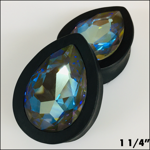 Ebony Swarovski Large Army Green Delite Teardrop
