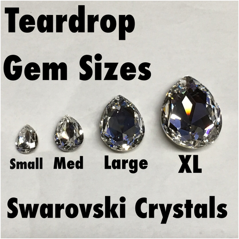 Ebony Swarovski Large Graphite Teardrop
