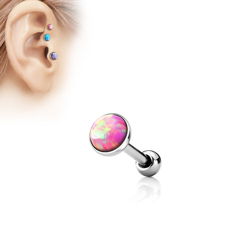 Pink  Opal  Flat Top 316L Surgical Steel Cartilage/Tragus Barbell -STEEL