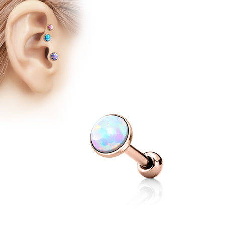 White Opal  Flat Top 316L Surgical Steel Cartilage/Tragus Barbell - ROSE GOLD