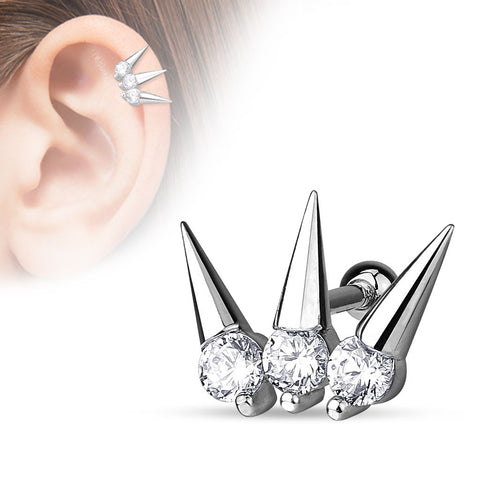 Spikes 316L Surgical Steel Cartilage/Tragus Barbell