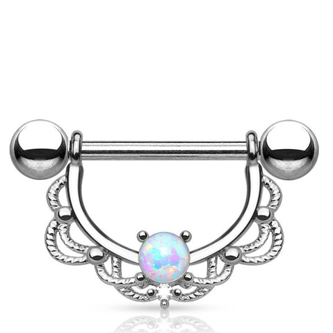 Five Paved Silver White Gem Round Septum Clicker