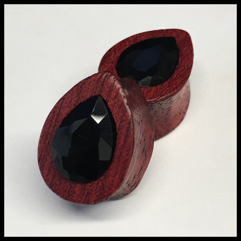 Bloodwood Swarovski Small Jet Teardrop