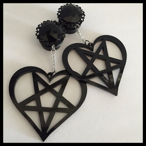 Black Gem Inverted Pentacle Heart Dangle Plug