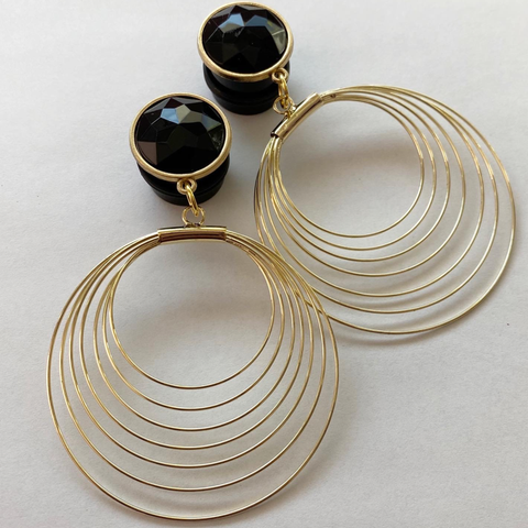 Golden Black Bling Hoops