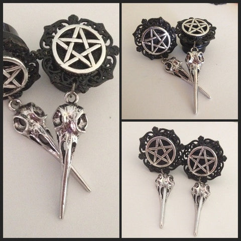 Pentacle Bird Skull  Dangle Plugs