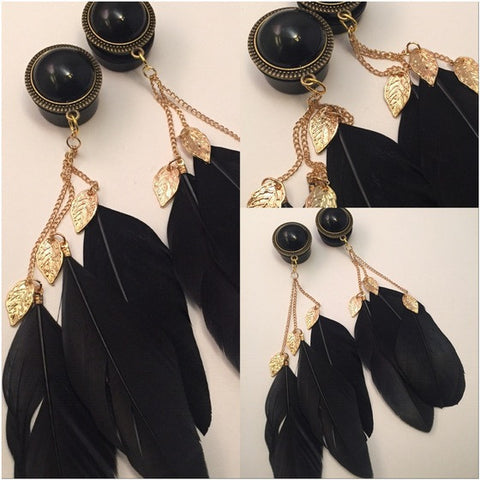 PEARL GOLD LEAF FEATHERS Black