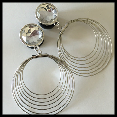 Silver Gen Bling Hoops