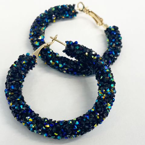 Midnight Blues Bling Hoops