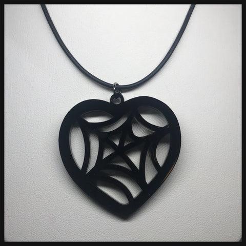 Spiderweb Heart Necklace
