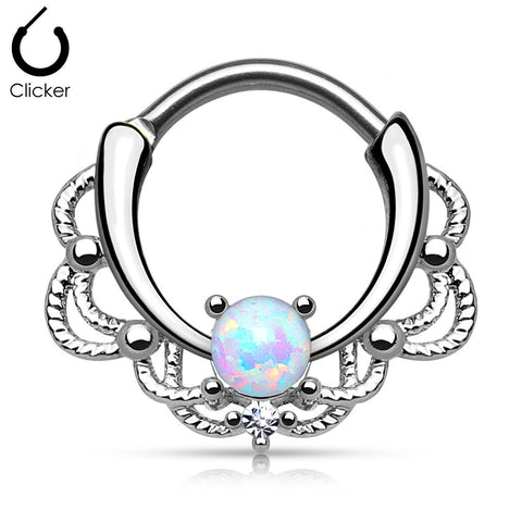 Five Paved gold White Gem Round Septum Clicker