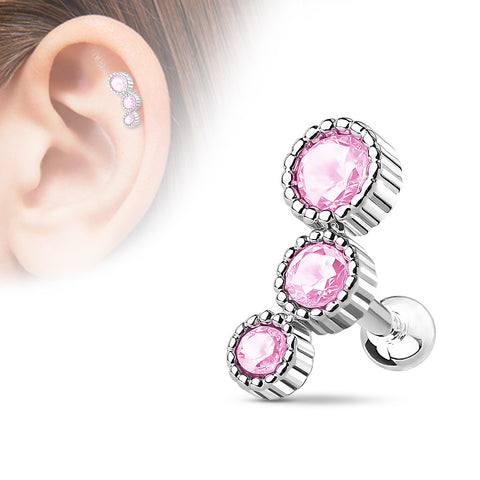 3 Round Pink Cartilage/Tragus Barbell