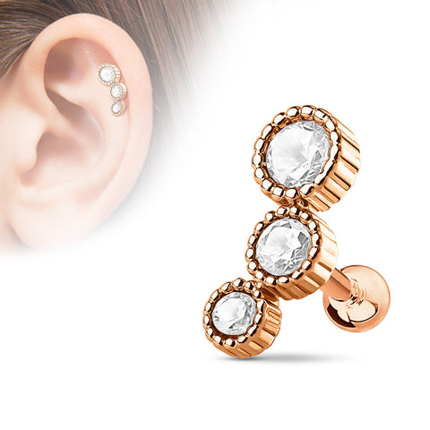 3 Round Rose Gold Cartilage/Tragus Barbell