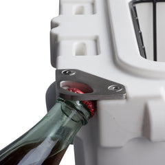 Cooler bottle opener opening a soda