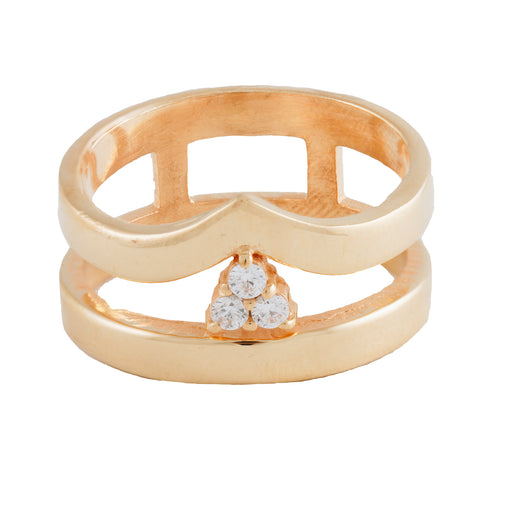 IVONE - Double Banded Cocktail Ring with Zirconia