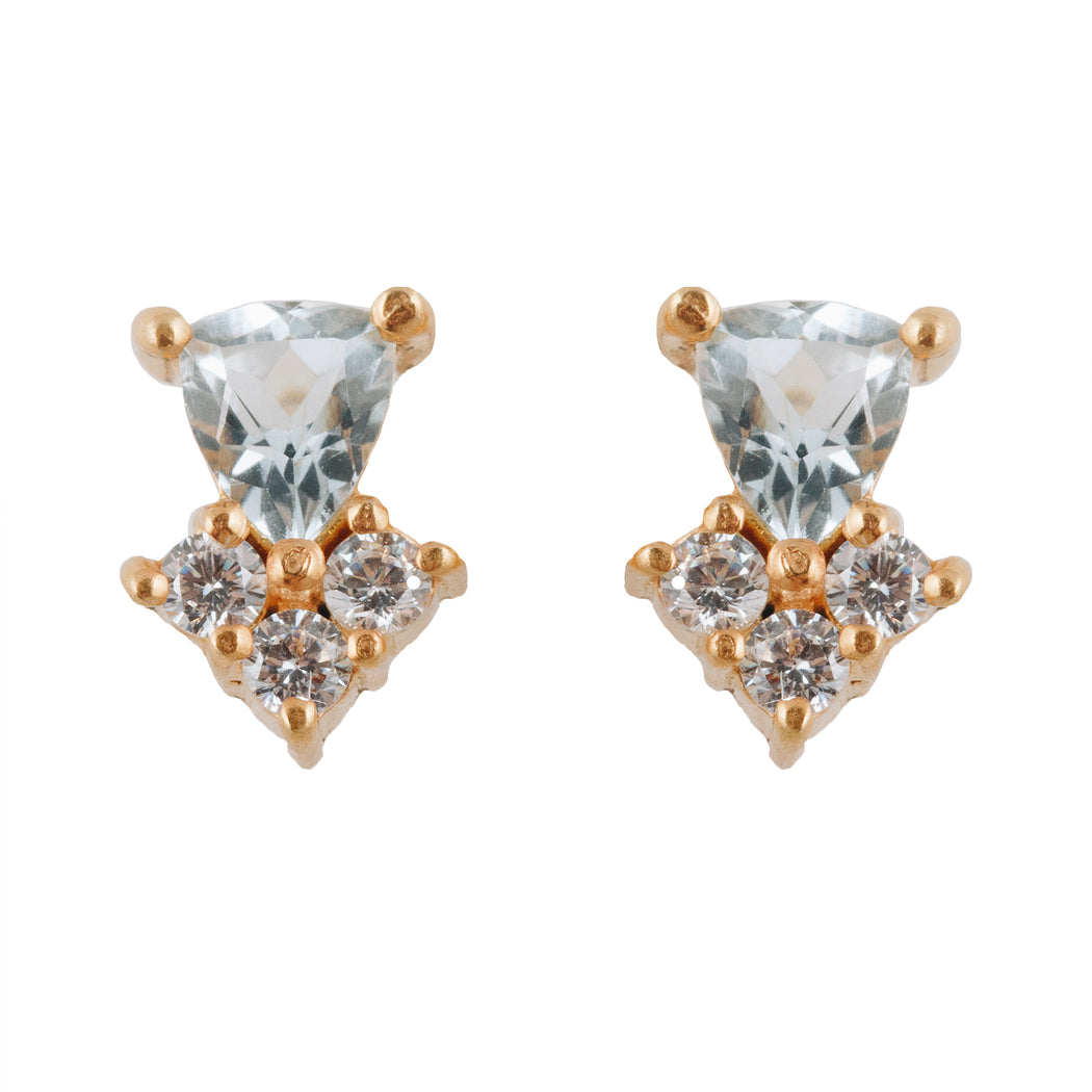 MEHVASH - Stud Earrings with Blue Topaz
