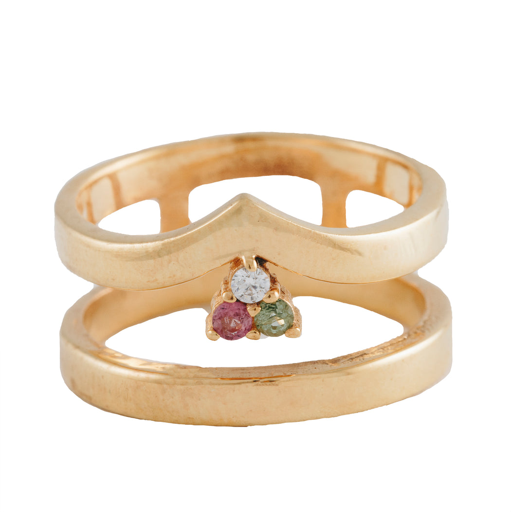 IVONE - Double Banded Cocktail Ring with Mixed Stones
