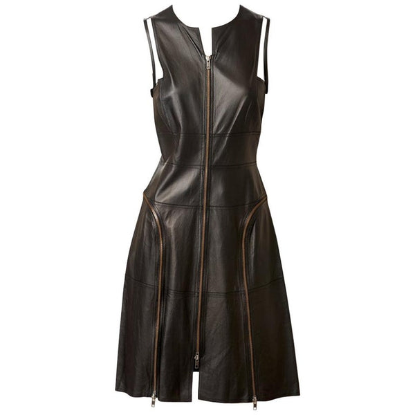 Chado Ralph Rucci Leather Dress With Zippers and Tulle Detail