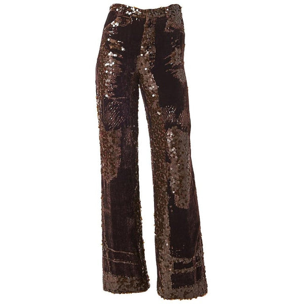 Jean Paul Gaultier Velvet and Sequined Wide Leg Pant
