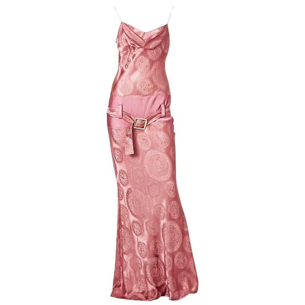 John Galliano Medallion Pattern Bias Cut Gown