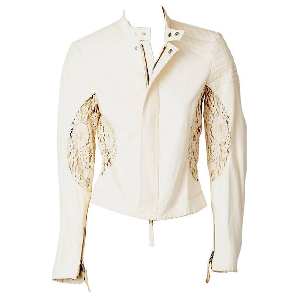 Jean Paul Gaultier Leather Jacket With lace Detail