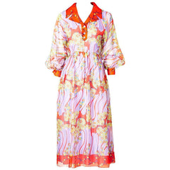 Oscar de la Renta Organza Shirt Dress 1970s