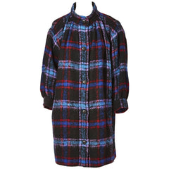 Yves Saint Laurent Wool Plaid Smock Coat