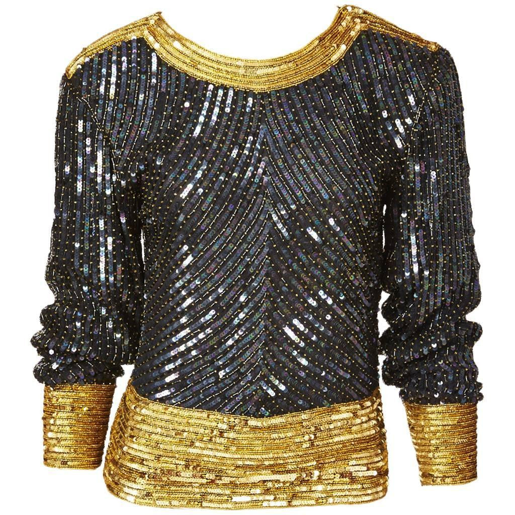 Yves Saint Laurent Bugle Beaded and Sequined Top