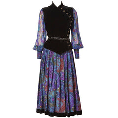Ungaro Couture Velvet, Wool and Chiffon Ensemble
