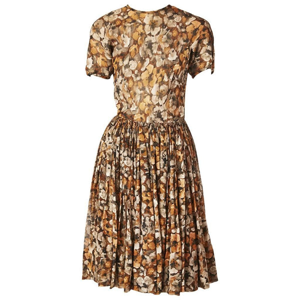 Galanos Floral Chiffon Day Dress