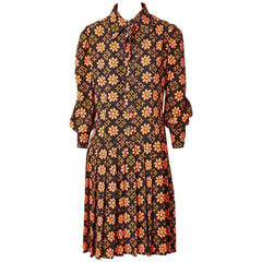Ungaro 70's Patterned Crepe Day Dress