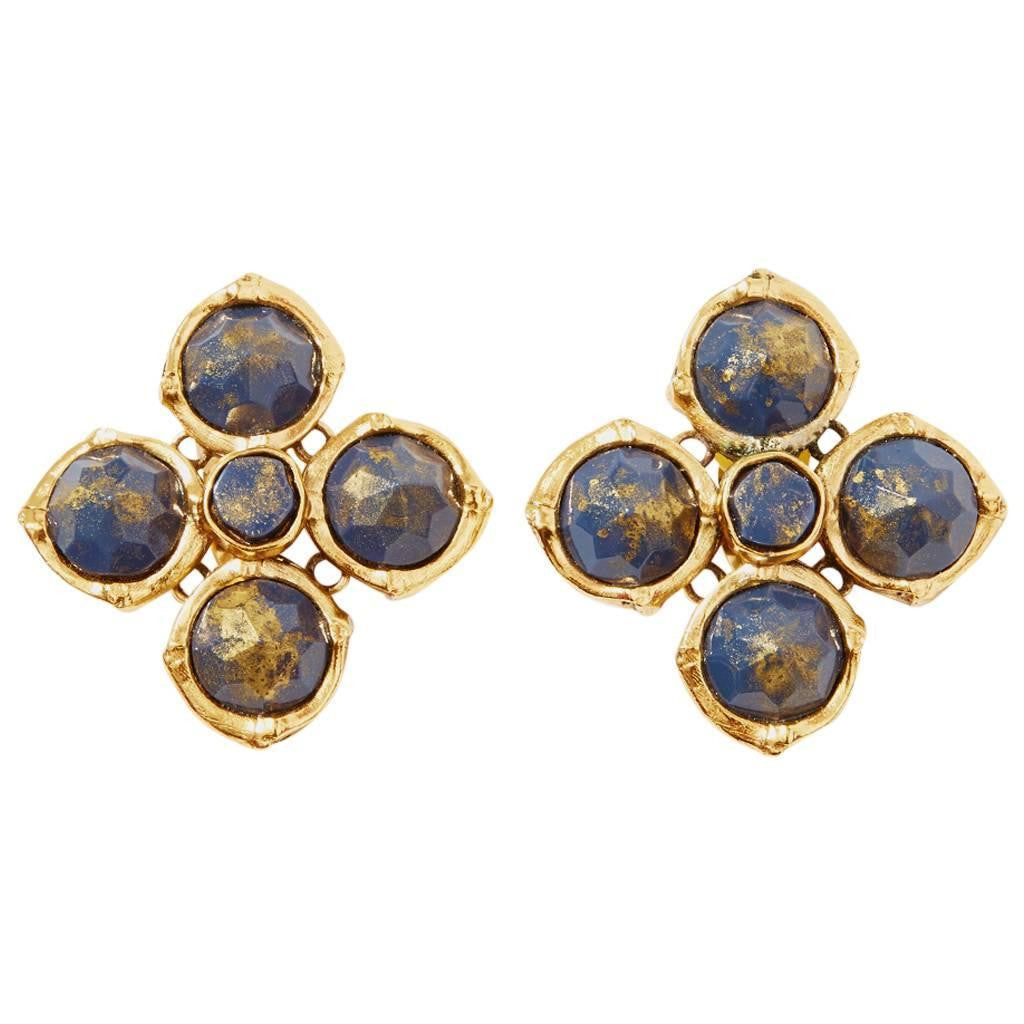 Yves Saint Laurent Rive Gauche Clip On Earrings