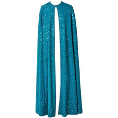 Clovis Ruffin Teal Blue Jersey Sequined Cape
