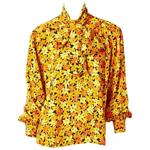 Yves Saint Laurent Floral Print Silk Blouse