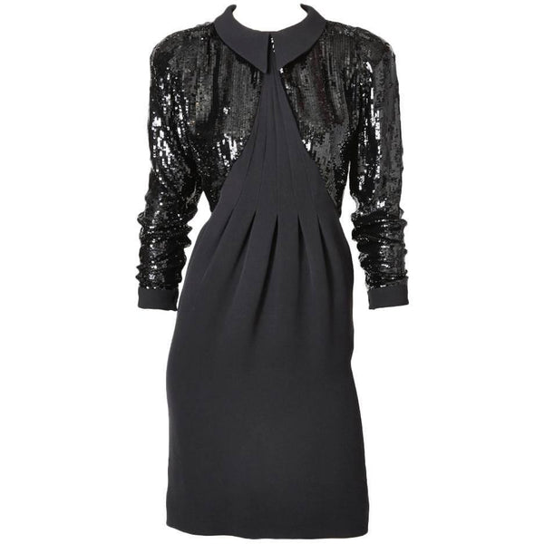 Geoffrey Beene Crepe And Sequined Cocktail Dress