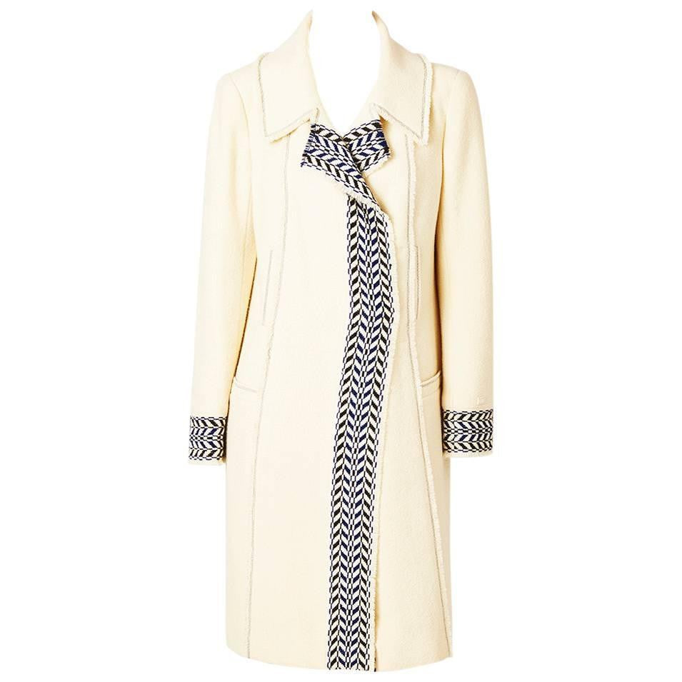 Chanel Ivory Wool Boucle Coat with Navy Blue Detail