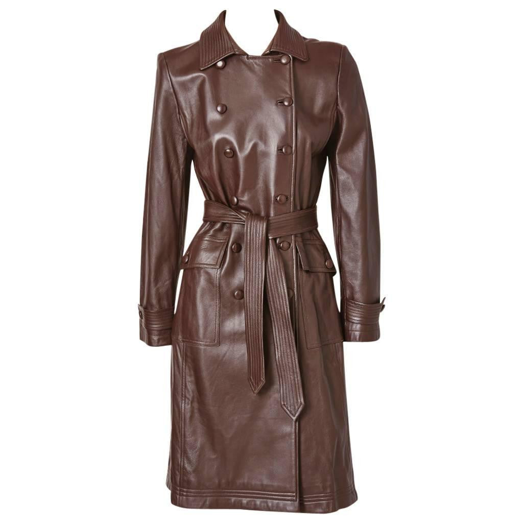Oscar de la Renta Leather Trench