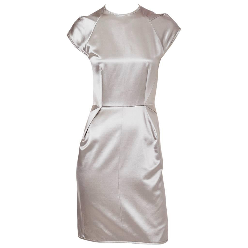 Geoffrey Beene Gunmetal Duchess Satin Dress