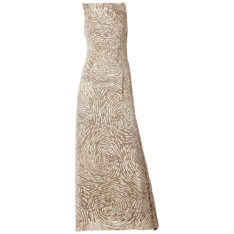Oscar de la Renta Sequined and Chiffon Gown