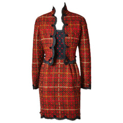 Geoffrey Beene Quilted Plaid and Polkda Dot Dress and Jacket Ensemble
