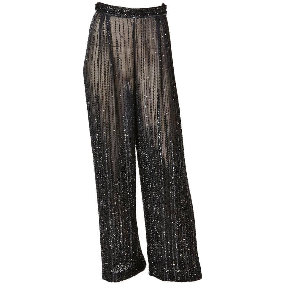 Valentino Bugle Beaded Chiffon Evening Pant