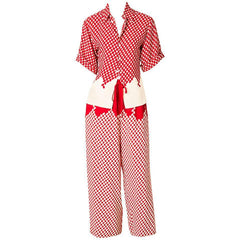 Gautier Red and Cream Crepe Pajama