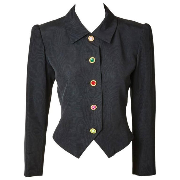 Yves Saint Laurent Moiré Spencer with Jeweled Buttons