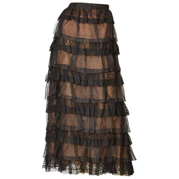 Oscar de la Renta Organza and Lace Evening Skirt