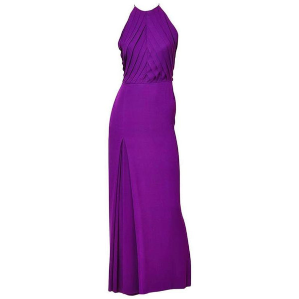 Galanos Halter Neck Gown with Pleating Detail