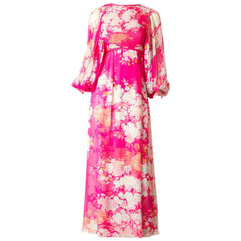 Hanae Mori Printed Chiffon Maxi Dress With Smocking