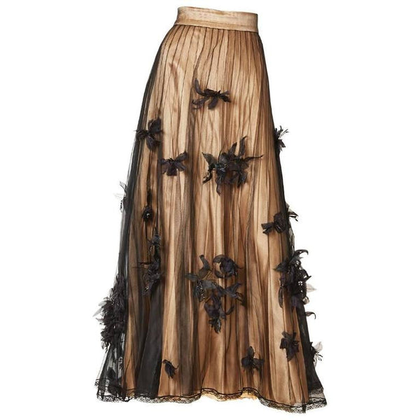 Chanel Couture Layered Evening Skirt Embellished with Sculpted Flowers