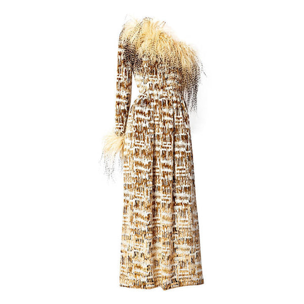Bill Blass Gown with Ostrich feathers