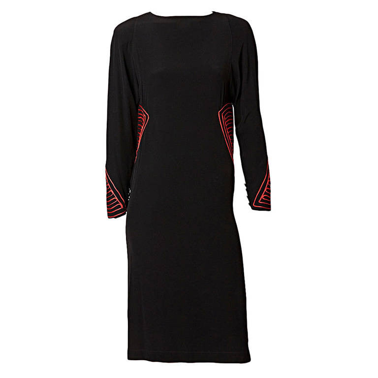 Karl Lagerfeld For Chloe Crepe Dress With Soutache Detail